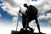 stock photo of gandhi  - Statue of Mahatma Gandhi taken in outdoor background - JPG