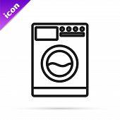 Black Line Washer Icon Isolated On White Background. Washing Machine Icon. Clothes Washer - Laundry  poster