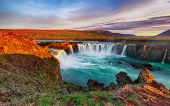 Fantastic Sunrise Scene Of Powerful Godafoss Waterfall. Dramatic Sky Over Godafoss. Location: Bardar poster