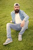 Bearded Man Trendy Hipster Style. Guy Modern Outfit. Casual And Comfortable. Hipster Lifestyle. Cool poster