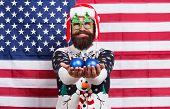 American Tradition. Santa Claus On American Flag. Celebrate Xmas And New Year In Patriotic Way. Trad poster