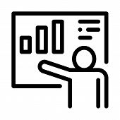 Speaker With Statistic Icon Vector. Outline Speaker With Statistic Sign. Isolated Contour Symbol Ill poster