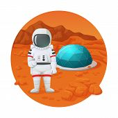 Colonization Of Mars. Astronaut Making Thumbs Up Gesture Standing On The Mars Surface Near Settlemen poster