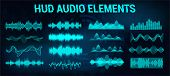 Set Audio Equalizer In Futuristic Style Hud, Concept Tech Sound Wave. Microphone Voice Control Techn poster