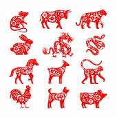 Traditional Chinese Zodiac Illustrations. Vector China Horoscope Animal Symbols, Bull And Mouse, Pig poster