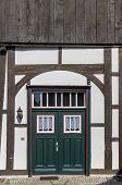 Green Door In A Half Timbered House In Rheda, Germany poster
