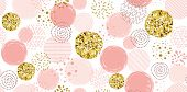 Pink Polka Dot Pattern Seamless Dotted Pattern With Pink Glitter Gold Circles Vector Pink Background poster