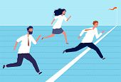 Business Finish Line. Group Of Top Managers And Workers Crossing Finish Business Success And Leaders poster