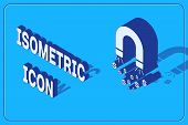 Isometric Magnet With Money Icon Isolated On Blue Background. Concept Of Attracting Investments, Mon poster