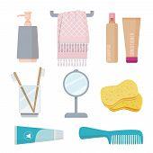 Bathroom Accessories. Personal Hygiene Items Toothbrush Paste Sponge Towel Gel Soap Vector Cartoon S poster