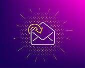 Receive Mail Download Line Icon. Halftone Pattern. Incoming Messages Correspondence Sign. E-mail Sym poster