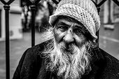 Homeless Man, Close Up Portrait Of Old Homeless Alcoholic Man Face With White Beard And Hair Wanderi poster