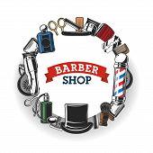 Barber Shop Salon Vector Banner, Hipster And Gentlemen Trend Hairdresser Sign. Barber Shop Equipment poster