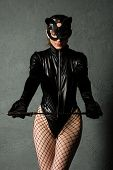 Adult Sex Games. Beautiful Dominant Brunette Vamp Mistress Girl In Latex Body, Gloves And Bdsm Black poster