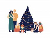 Family And Christmas Tree Flat Vector Illustration. Smiling Parents And Children Opening Gifts Under poster