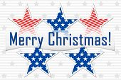 Congratulations Merry Christmas In American Style, Congratulation Banner On The Background Of Americ poster