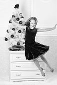 Girl In Dress Jumping. It Is Christmas. Day We Have Waited For All Year Finally Here. Girl Excited A poster