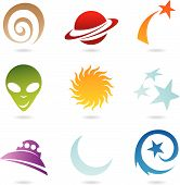 A Set Of Fun Space Icons