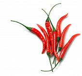 Bright Red Cayenne Peppers Tighly Cropped On White