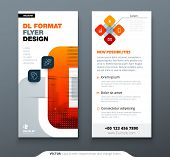 Dl Flyer Design With Square Shapes, Corporate Business Template For Dl Flyer. Creative Concept Flyer poster