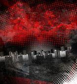 Rojo y negro ciudad Grunge fondo