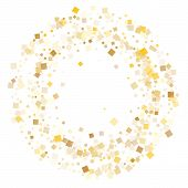 Glowing Gold Square Confetti Sparkles Flying On White. Glittering New Year Vector Sequins Background poster