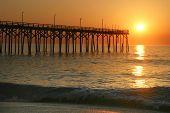 Ocean Fishing Pier At Sunset