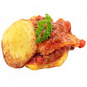 pic of hake  - appetizer of hake with tomato and vegetables on a bed of fried potato cut off and isolated - JPG