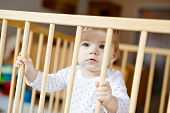 Beautiful Little Baby Girl Standing Inside Playpen. Cute Adorable Child Playing With Colorful Toys.  poster