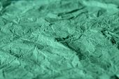 Rough Turquoise Paper Texture. Blue Crumpled Paper Texture And Background. Close Up View Of Wrinkled poster