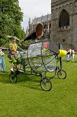 A wind generating mechanism on Exeter Cathedral green