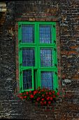 Beautiful Interesting Windows In Old Historic Tenement Houses In The Polish City Of Gdansk Close Up poster
