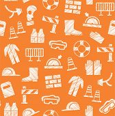 Safety At Work, Labor Protection, Seamless Pattern, Orange, Pencil Hatching, Vector. Special Clothin poster