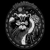 The Christmas Cat Of Iceland - The Yule Cat - Jolakotturinn, Icelandic Mythological Character. Chris poster