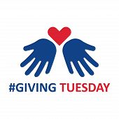 Giving Tuesday. Helping Hand With Heart Shape. Global Day Of Charitable Giving. Vector Illustration. poster