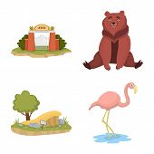 Vector Design Of Zoo And Park Logo. Collection Of Zoo And Animal Stock Symbol For Web. poster