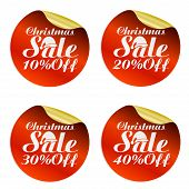 Christmas Sale Stickers Set 10%, 20%, 30%, 40% Off With Santa Claus Hat.vector Illustration poster
