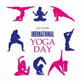 21 June- Yoga Body Posture, Illustration Of International Yoga Day, Woman Practicing Yoga. Vector Il poster