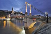 Lyon and bridge over river saone, france