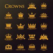 Golden Crowns, Vector Heraldic Icons For Luxury Company And Premium Corporate Identity Labels. Gold  poster