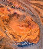 The Shale mining from above. Aerial view to open cast mine. Heavy industry as a source of emissions. poster