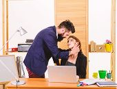 Couple Who Works Together. Couple Of Lovers At Workplace. Couple In Love Conducting Affair At Work.  poster