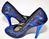 Beautiful blue woman shoes with high heels