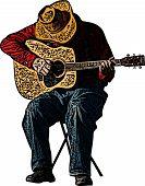 Cowboy Playing Guitar Illustration