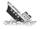 Sinking Steamboat Ship Sketch Engraving Vector Illustration. T-shirt Apparel Print Design. Scratch B poster