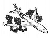 Airplane Crash Sketch Engraving Vector Illustration. T-shirt Apparel Print Design. Scratch Board Sty poster