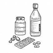 Medicine Drug Set Sketch Engraving Vector Illustration. T-shirt Apparel Print Design. Scratch Board  poster