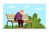 Old Man Feeding Birds Flat Vector Illustration. Aged Person, Retiree Sitting On Bench In Park Cartoo poster
