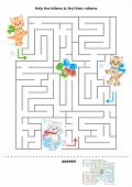 Maze for kids with kittens