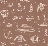 Marine Drawings, Seamless Pattern, Color, Brown, Vector/marine Drawings, Seamless Pattern, Color, Br poster